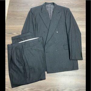 Zanella Grey Pinstripe Double Breasted Suit 44L